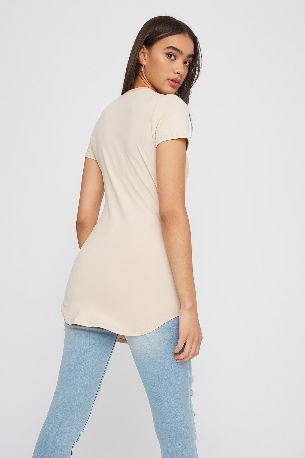 Soft Crew Neck Longline T-Shirt Taupe