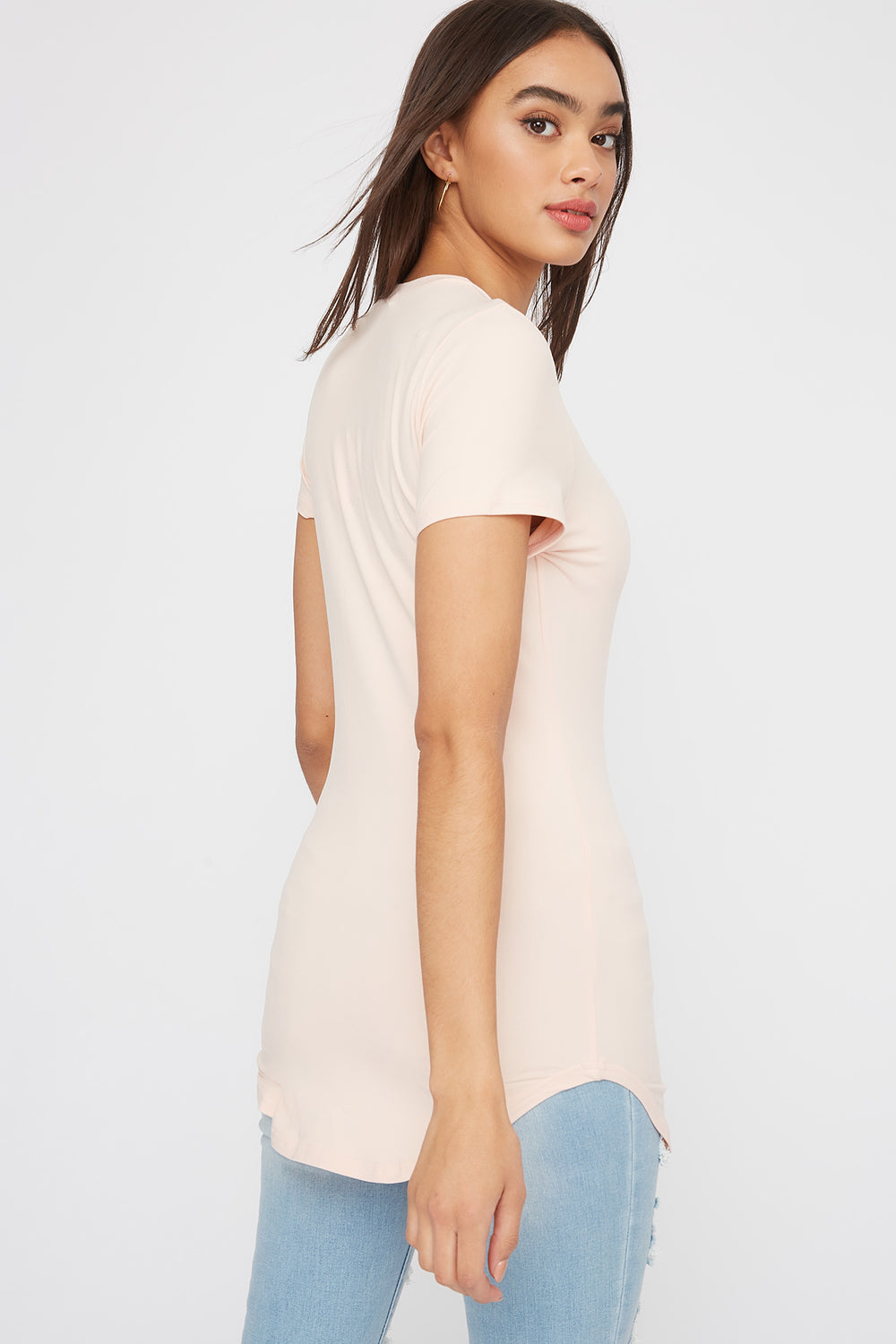 Soft Crew Neck Longline T-Shirt Dusty Rose