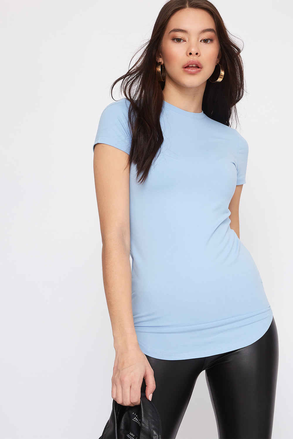 Soft Crew Neck Tunic T-Shirt Baby Blue