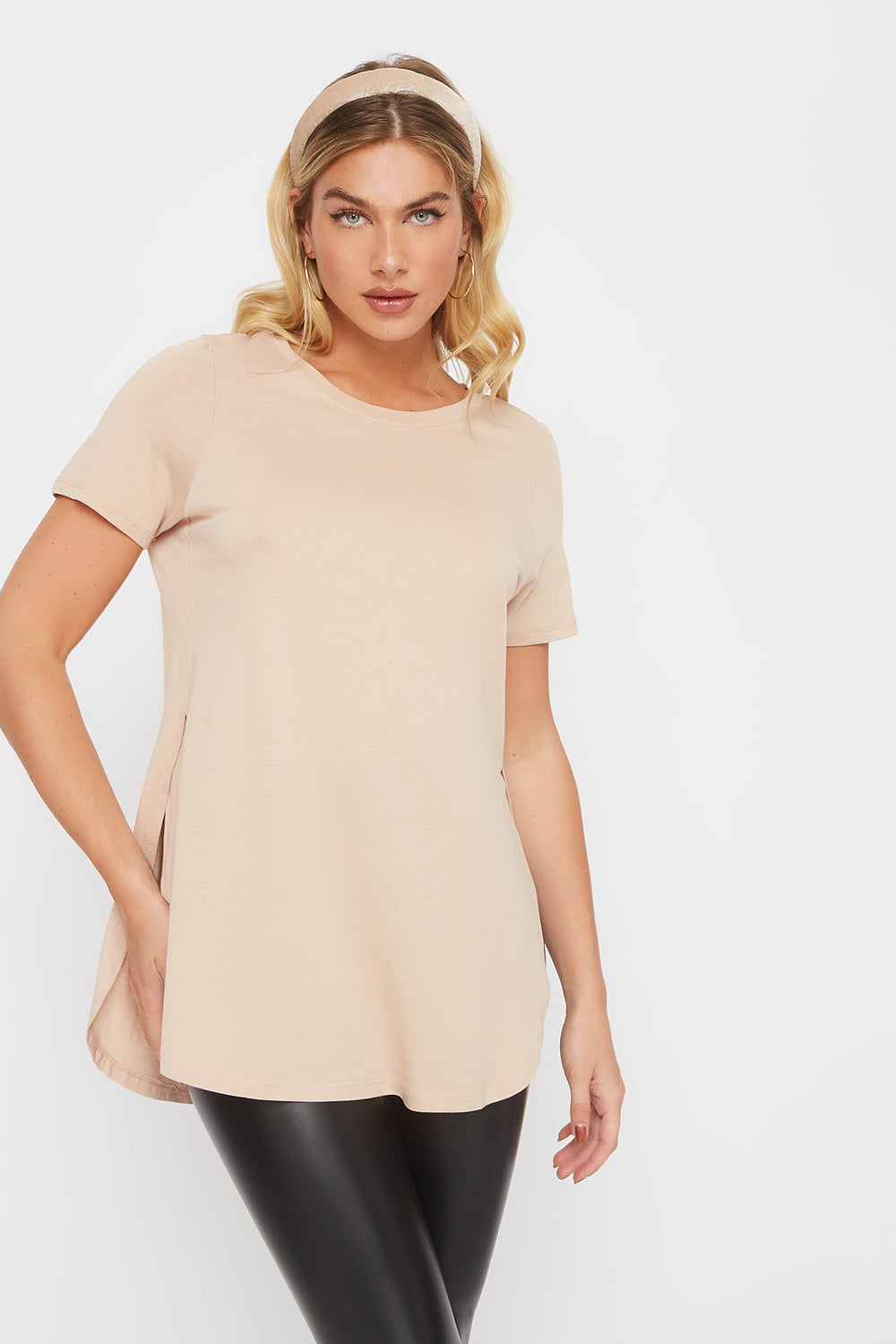 Crew Neck Side Slit T-Shirt Taupe