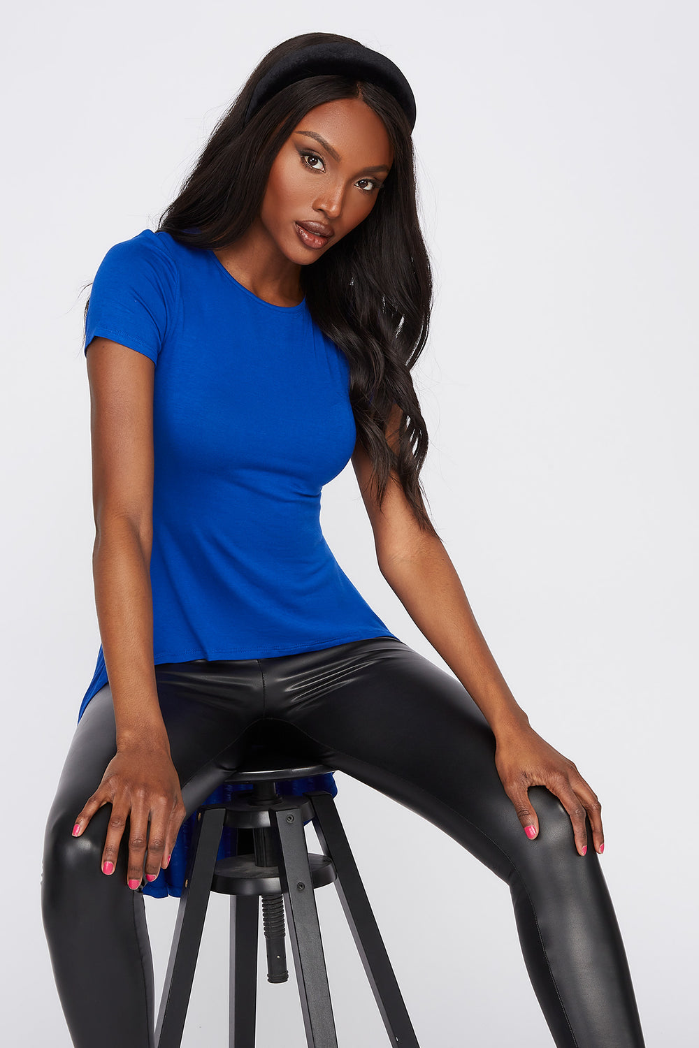 Solid High-Low T-Shirt Royal Blue