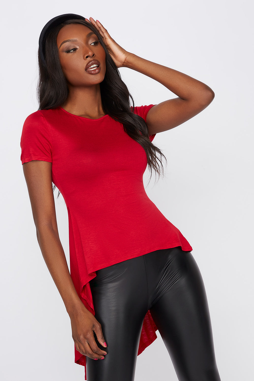 Solid High-Low T-Shirt Red