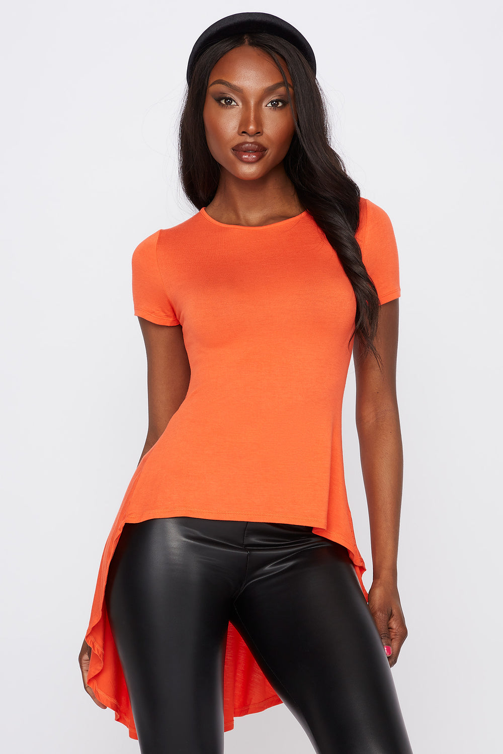 Solid High-Low T-Shirt Orange