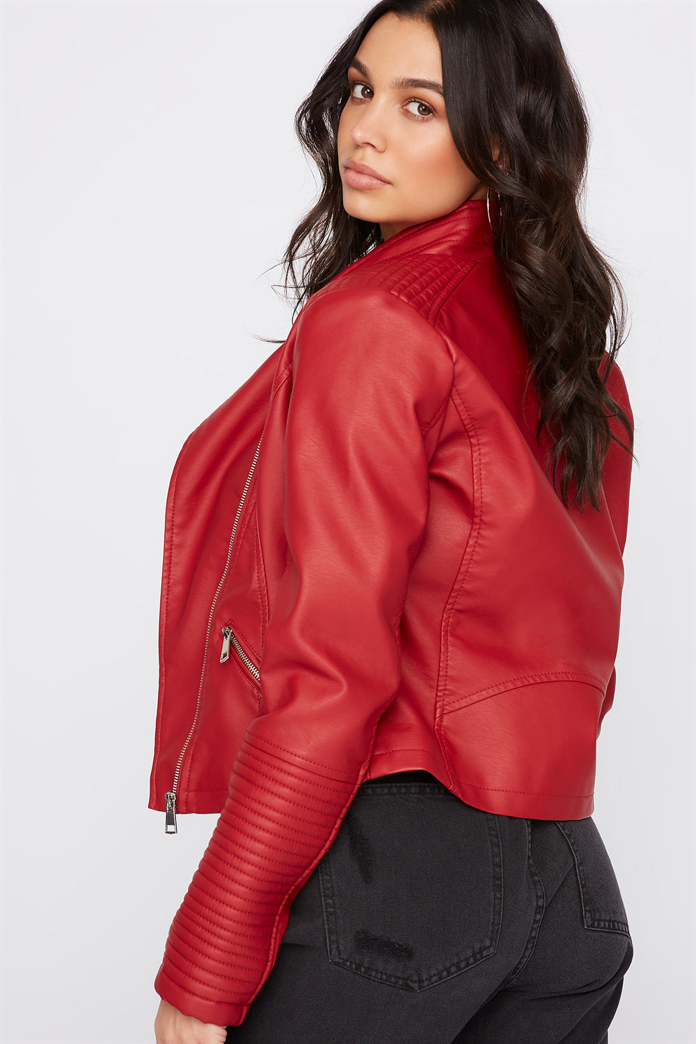 Ribbed Sleeve Faux Leather Jacket Red