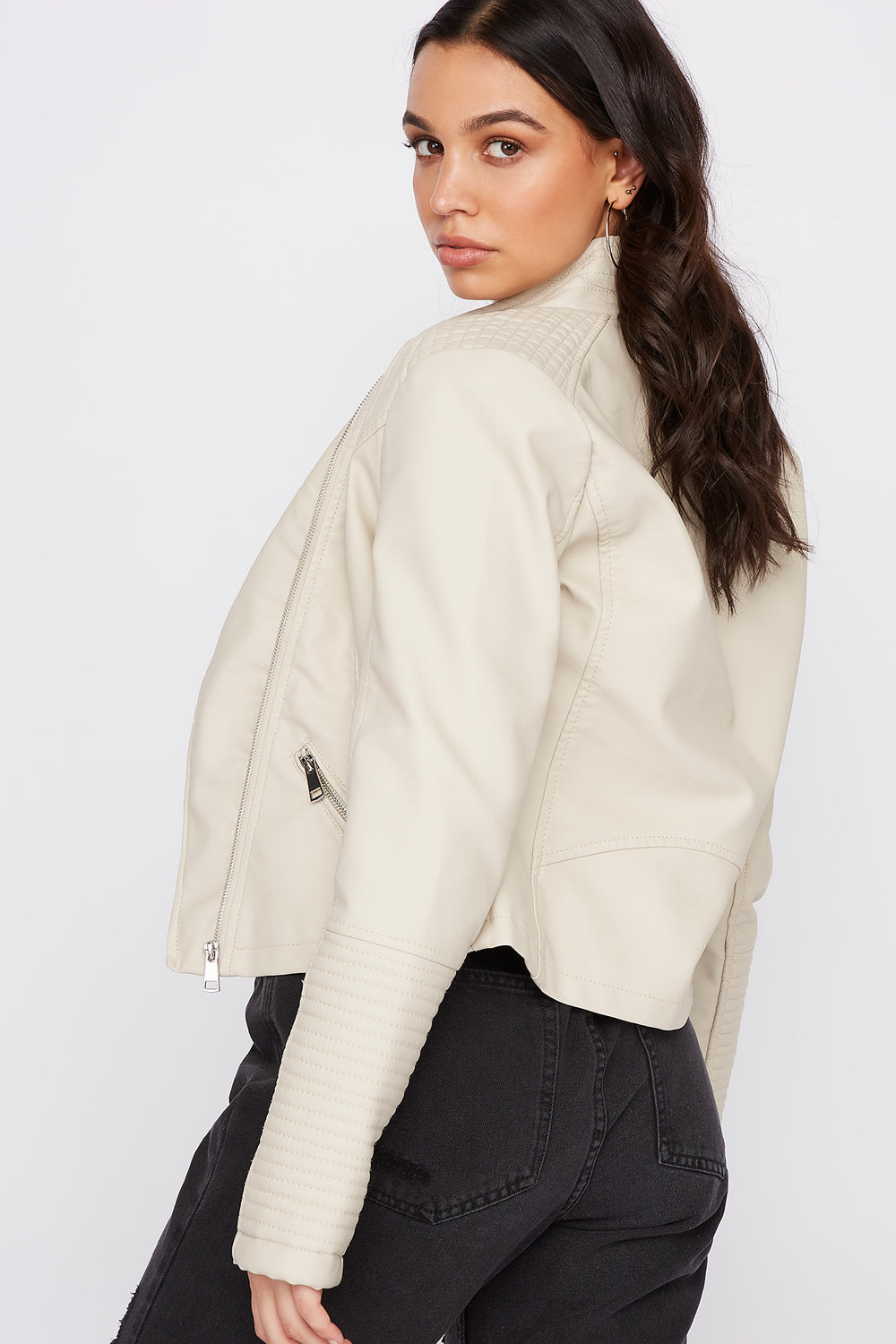 Ribbed Sleeve Faux Leather Jacket Taupe