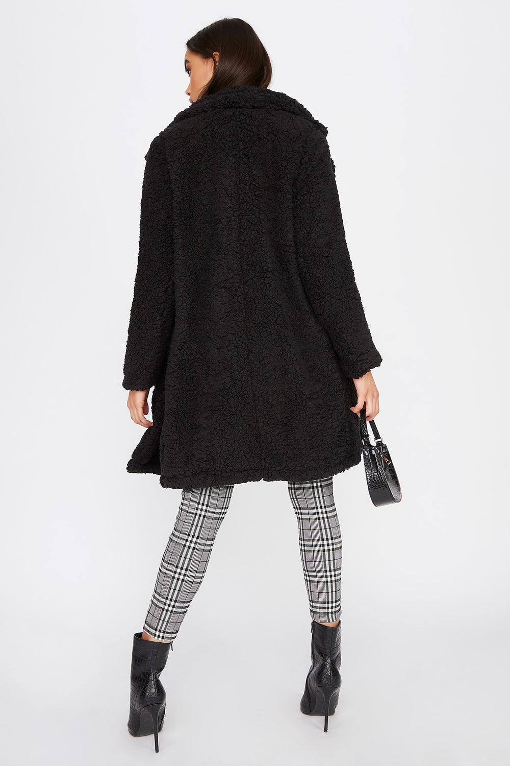 Teddy Longline Coat Black
