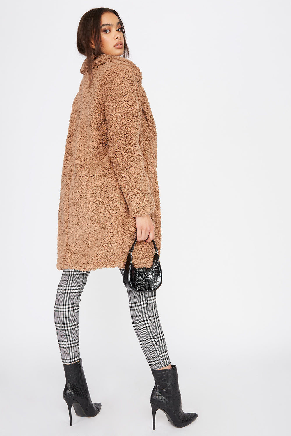 Teddy Longline Coat Tan