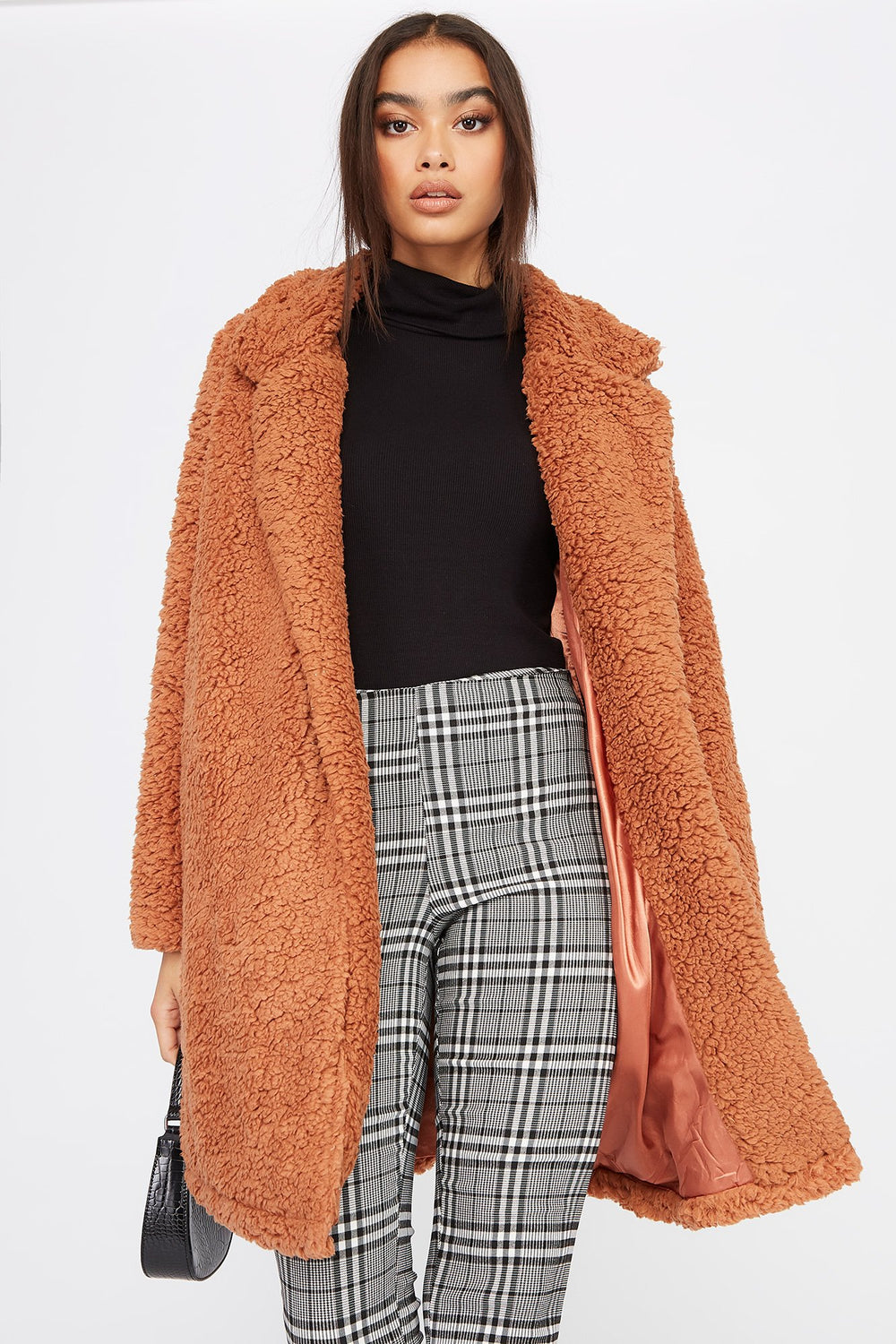 Teddy Longline Coat Rust
