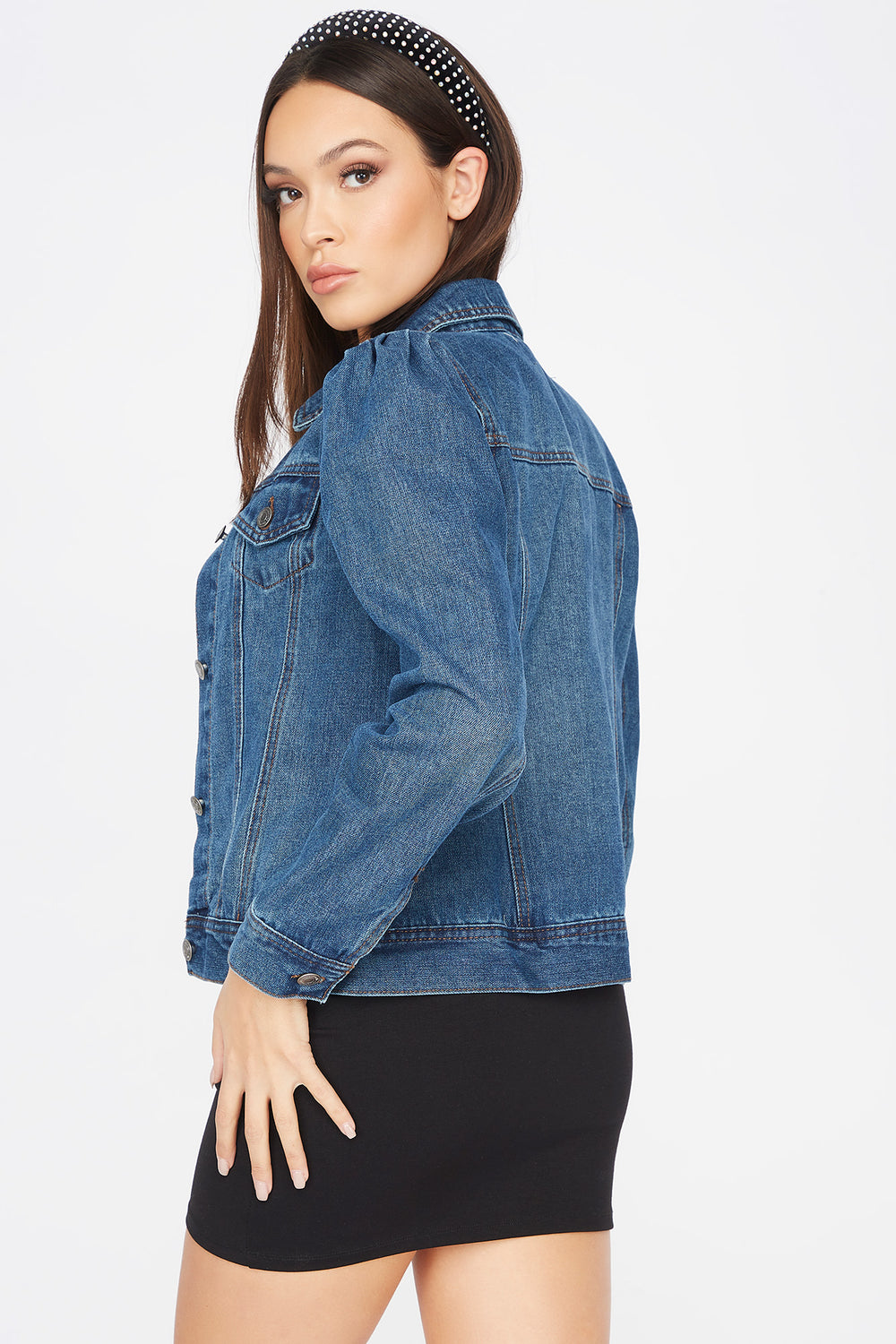 Puff Sleeve Denim Jacket Denim Blue