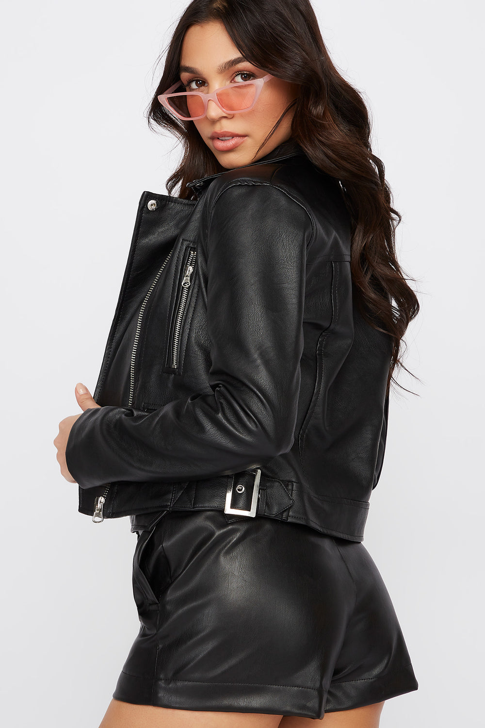 Faux Leather Asymmetric Zipper Jacket Black