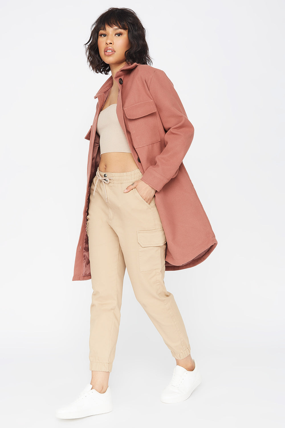 Longline Button-Up Shirt Jacket Mauve