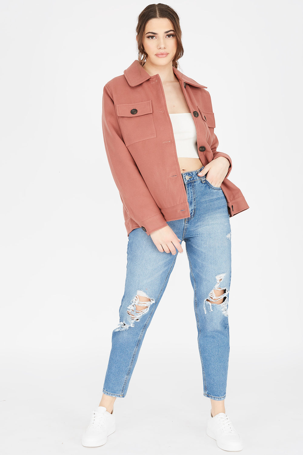 Button-Up Shirt Jacket Mauve