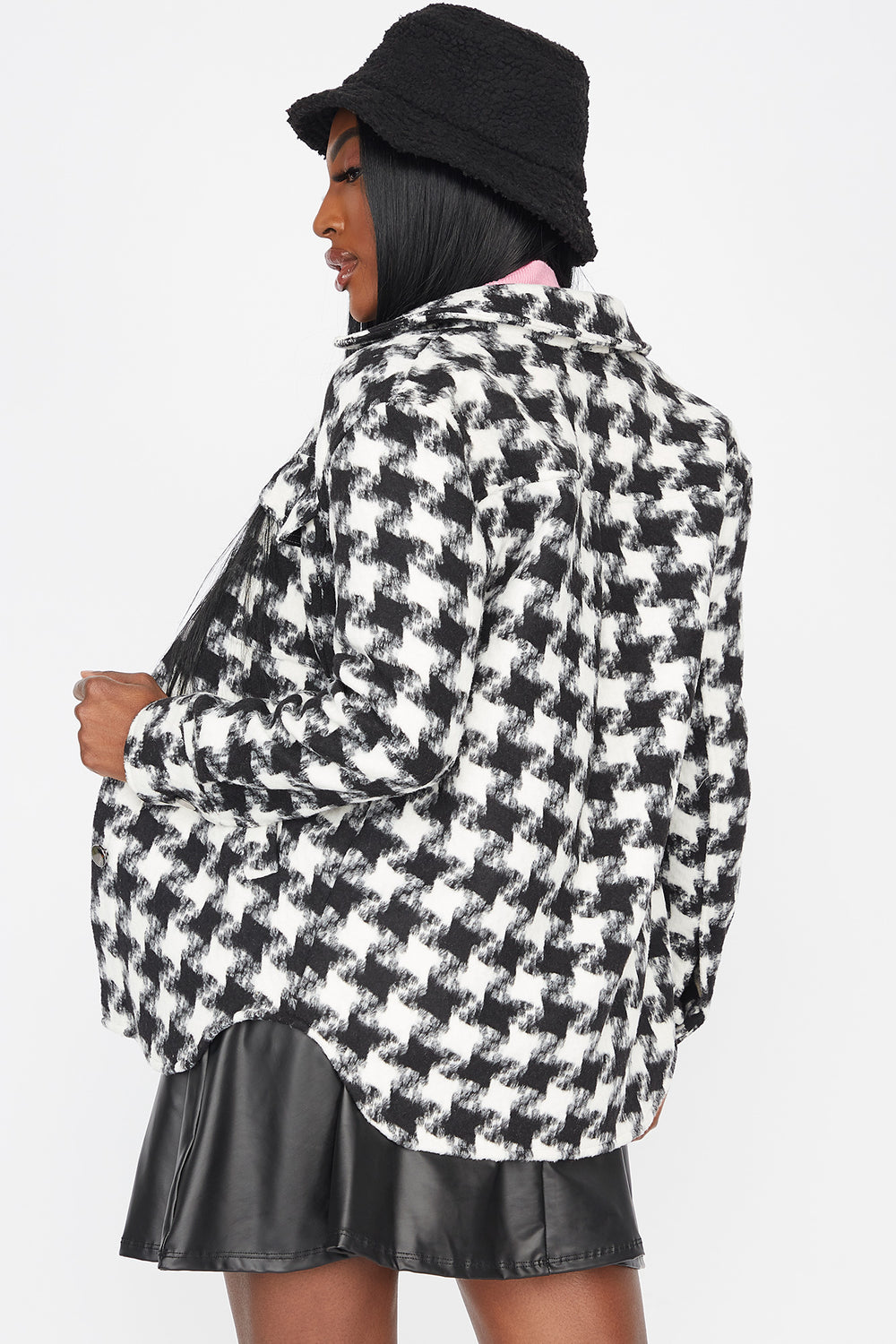 Houndstooth Button-Up Jacket Black with White