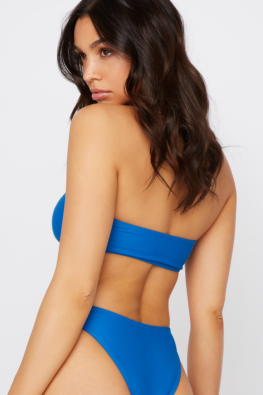 Strappy Cut Out Bandeau Bikini Top Blue