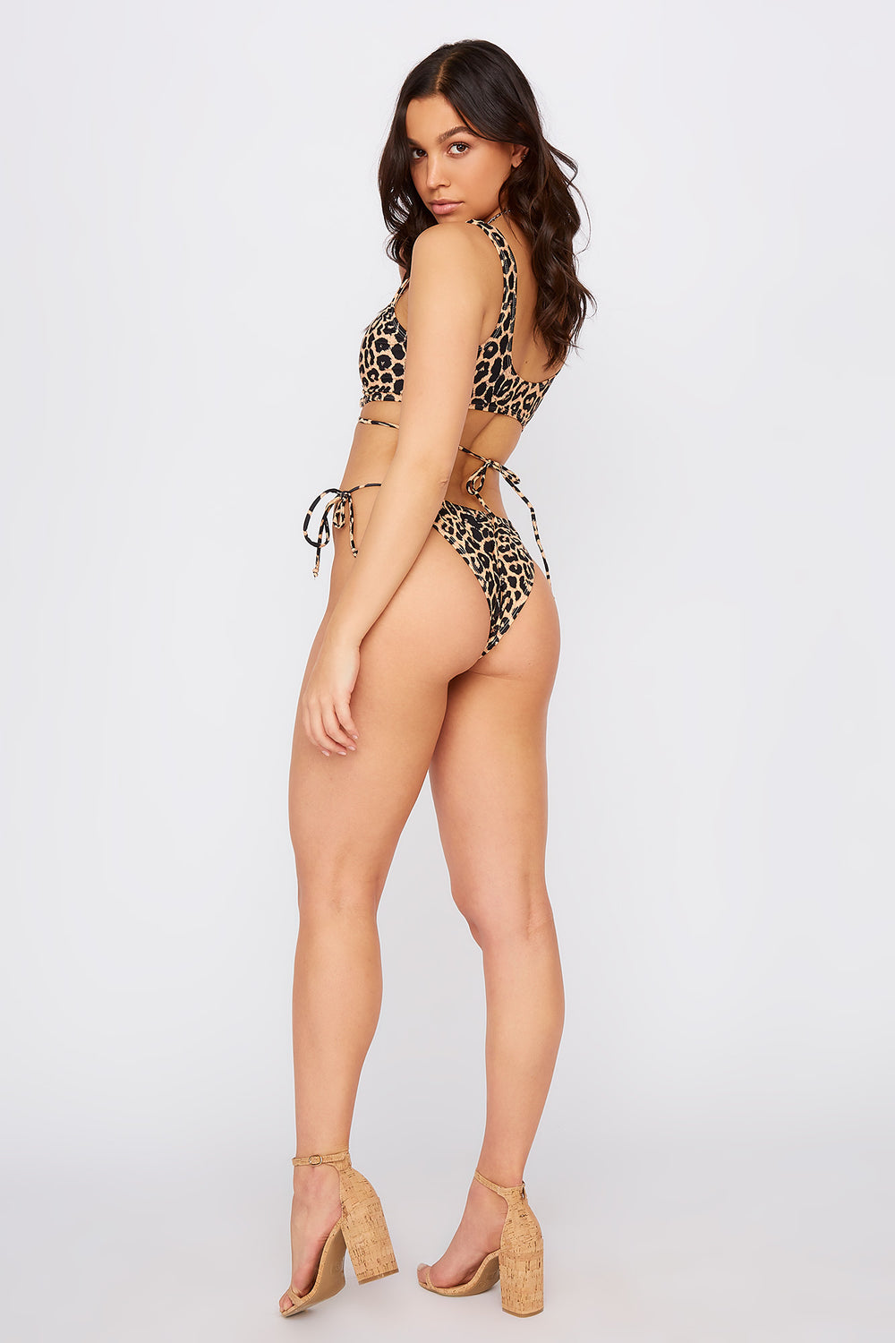 High Leg Side Tie Bikini Bottom Brown