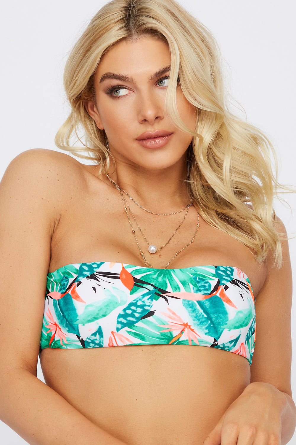 Removable Strap Bandeau Bikini Top Multi