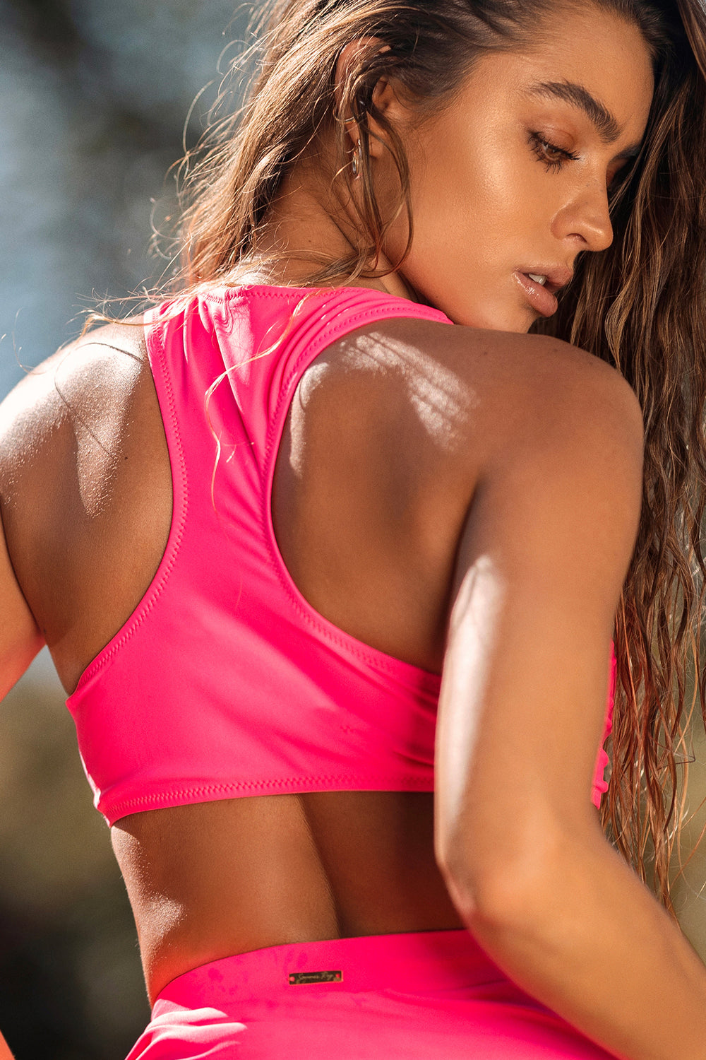 Sommer Ray Zip-Up Racer Back Surfer Bikini Top Neon Pink
