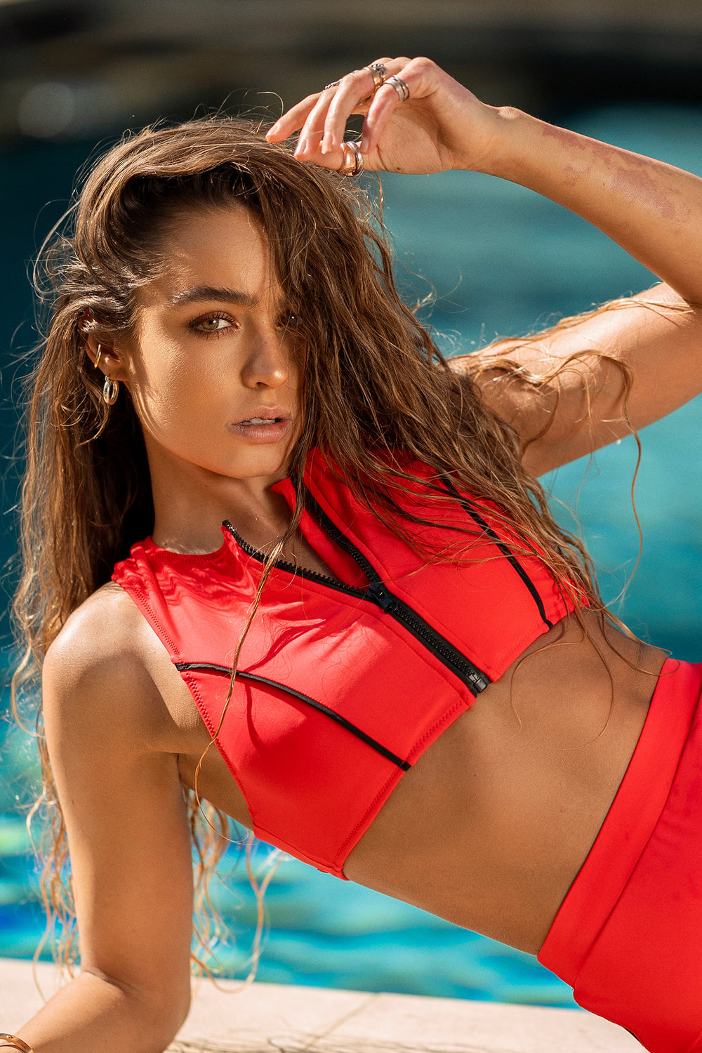 Sommer Ray Zip-Up Racer Back Surfer Bikini Top Red