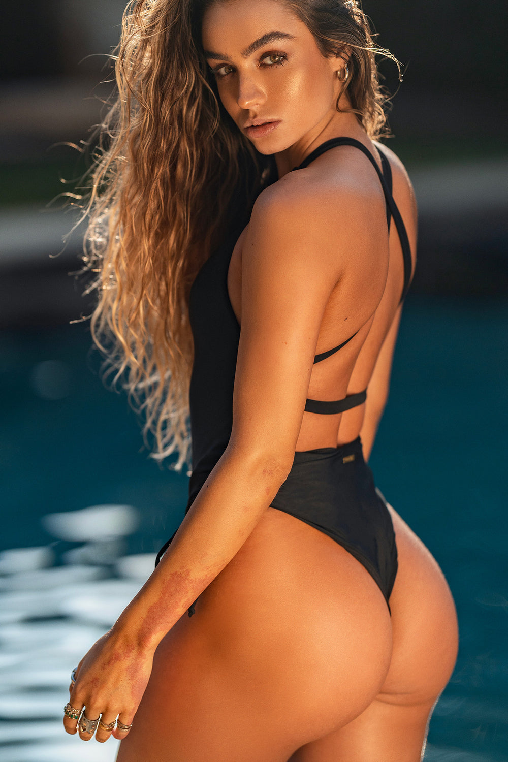Sommer Ray Ruched Cross Back One Piece Swimsuit Black