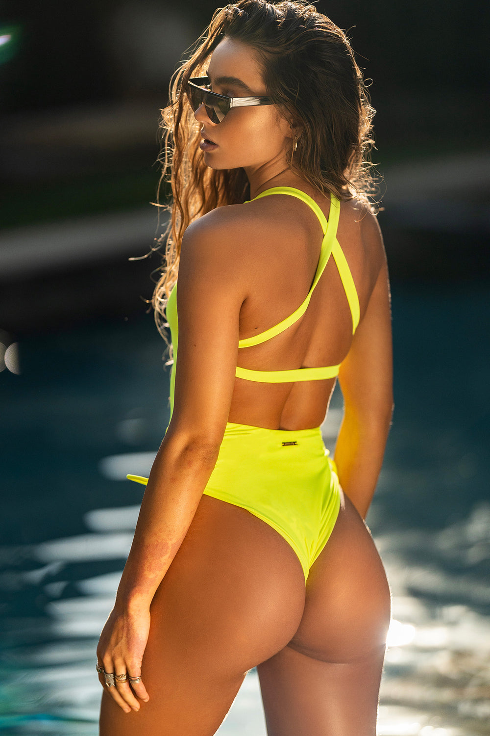 Sommer Ray Ruched Cross Back One Piece Swimsuit Neon Yellow