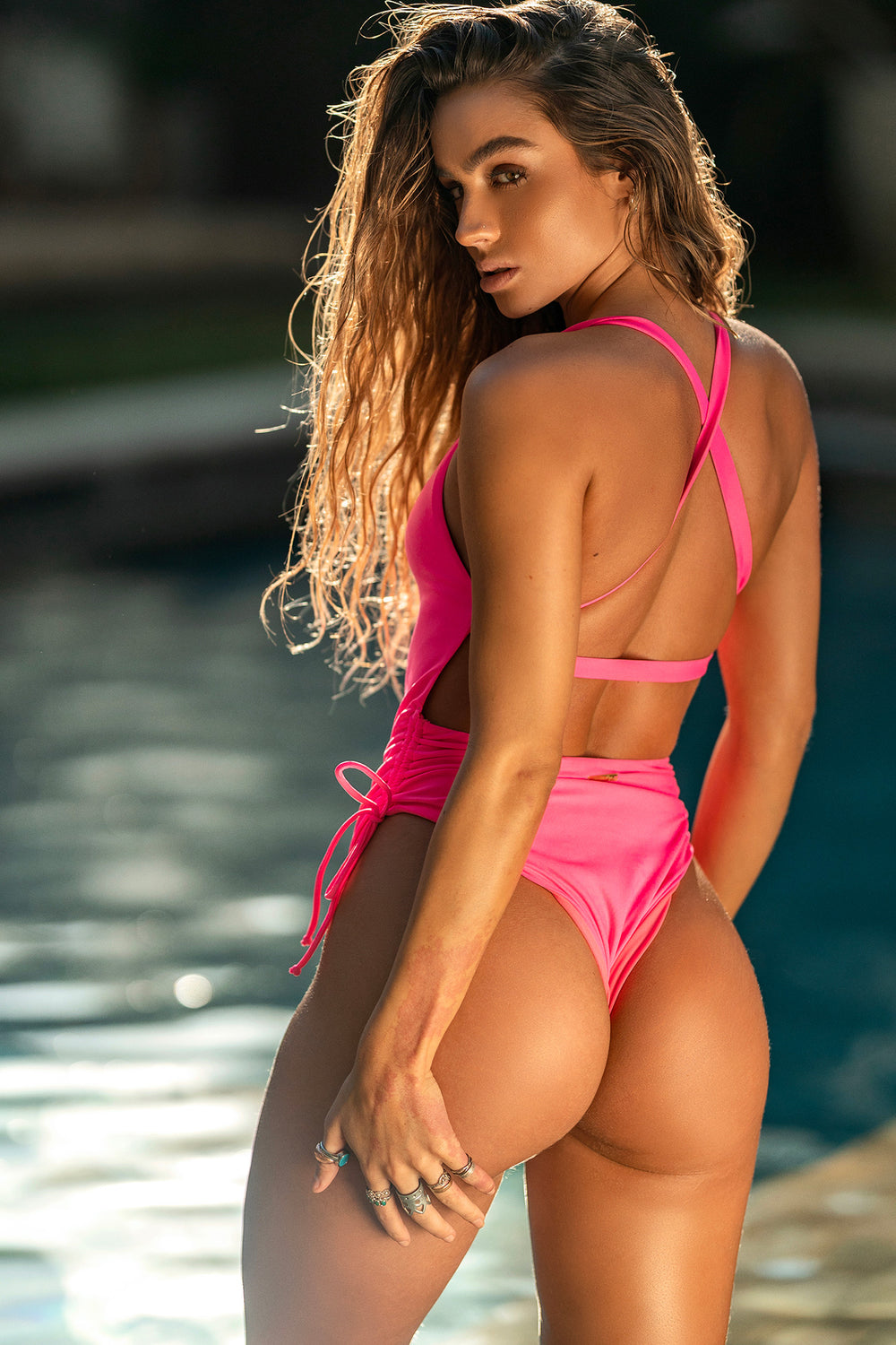 Sommer Ray Ruched Cross Back One Piece Swimsuit Neon Pink