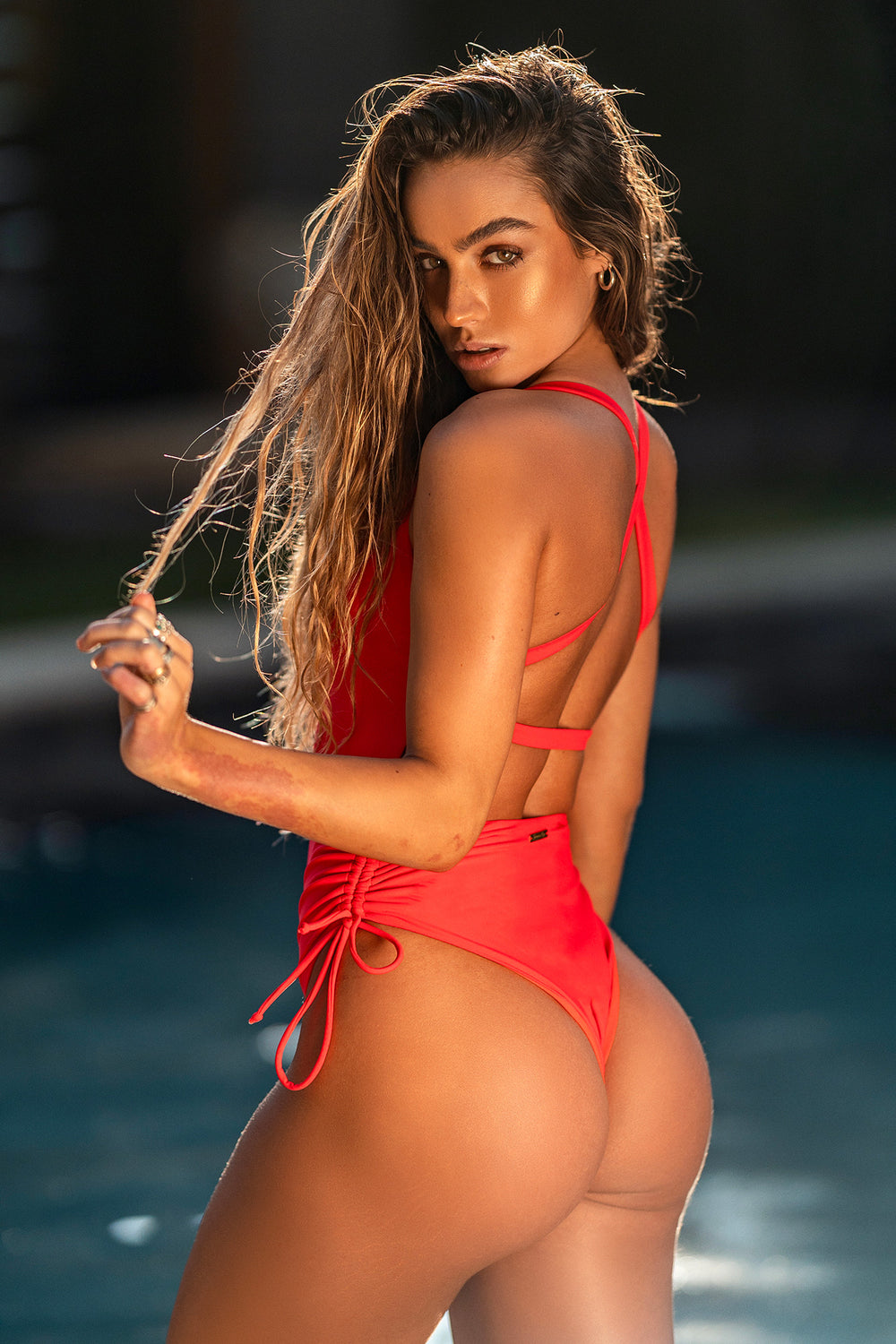 Sommer Ray Ruched Cross Back One Piece Swimsuit Red