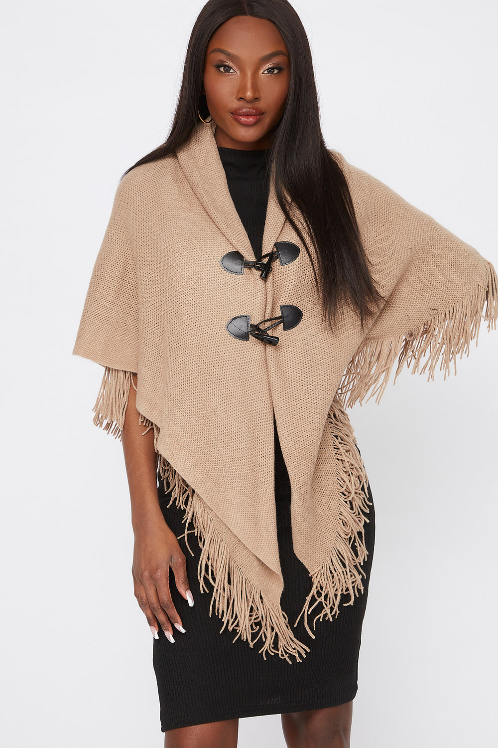 Knit Toggle Button Cape Taupe