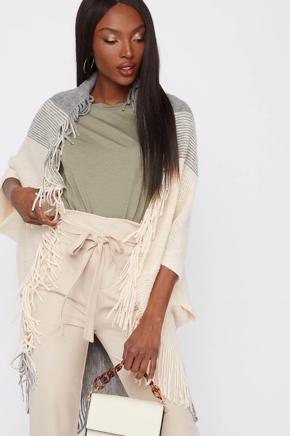 Short Sleeve Fringe Cape Cream