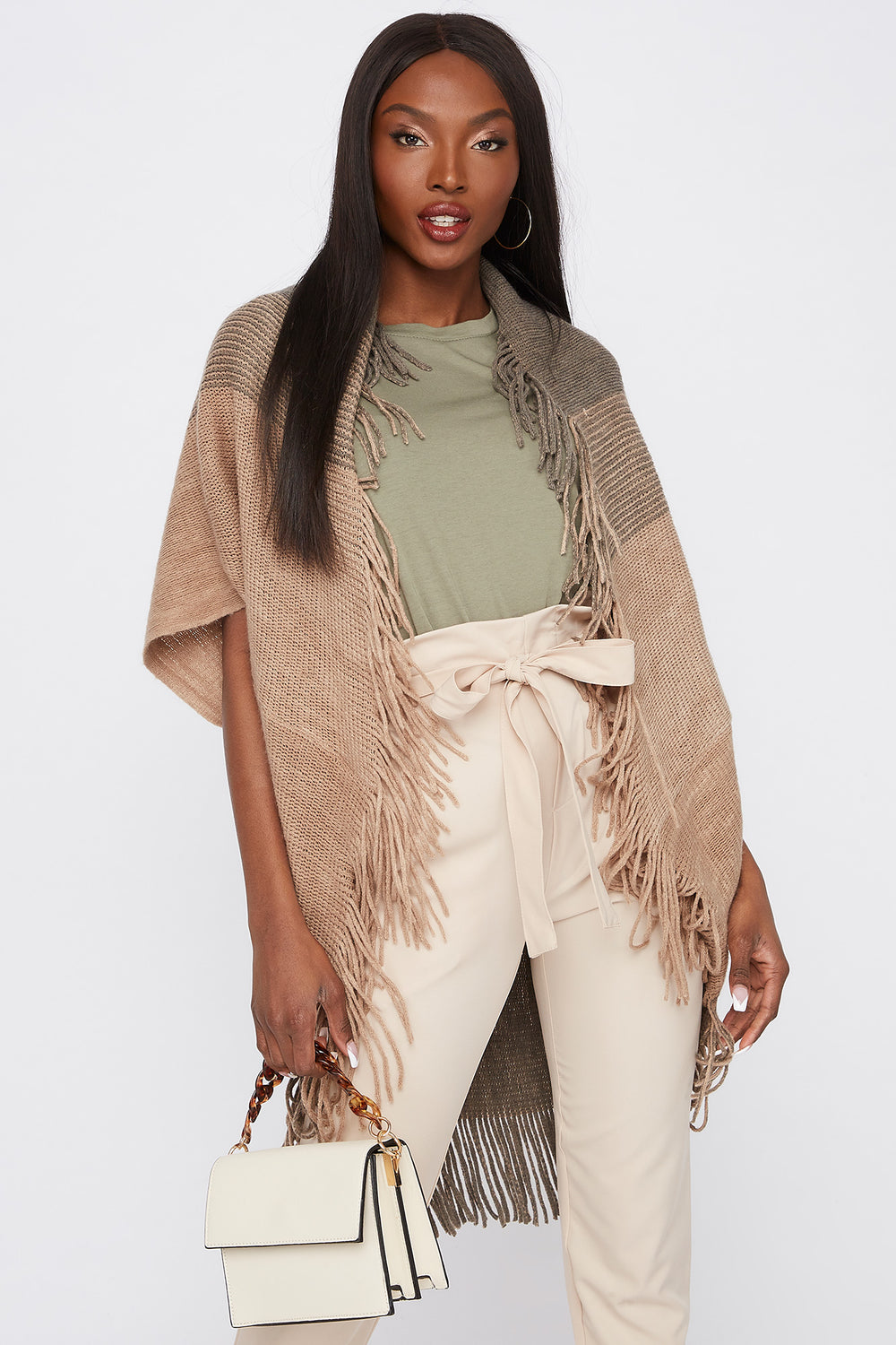 Short Sleeve Fringe Cape Brown