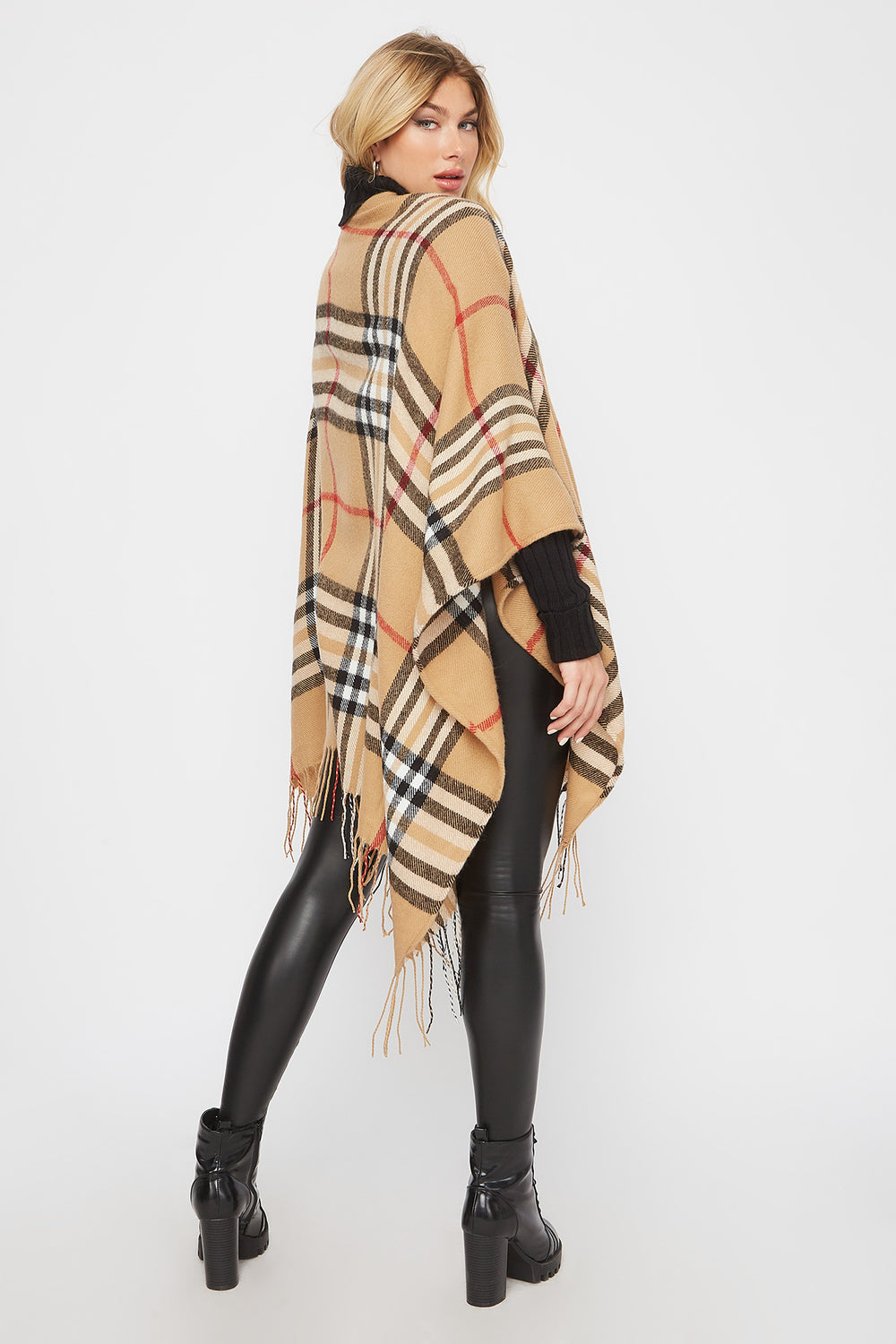 Plaid Cape Scarf Beige