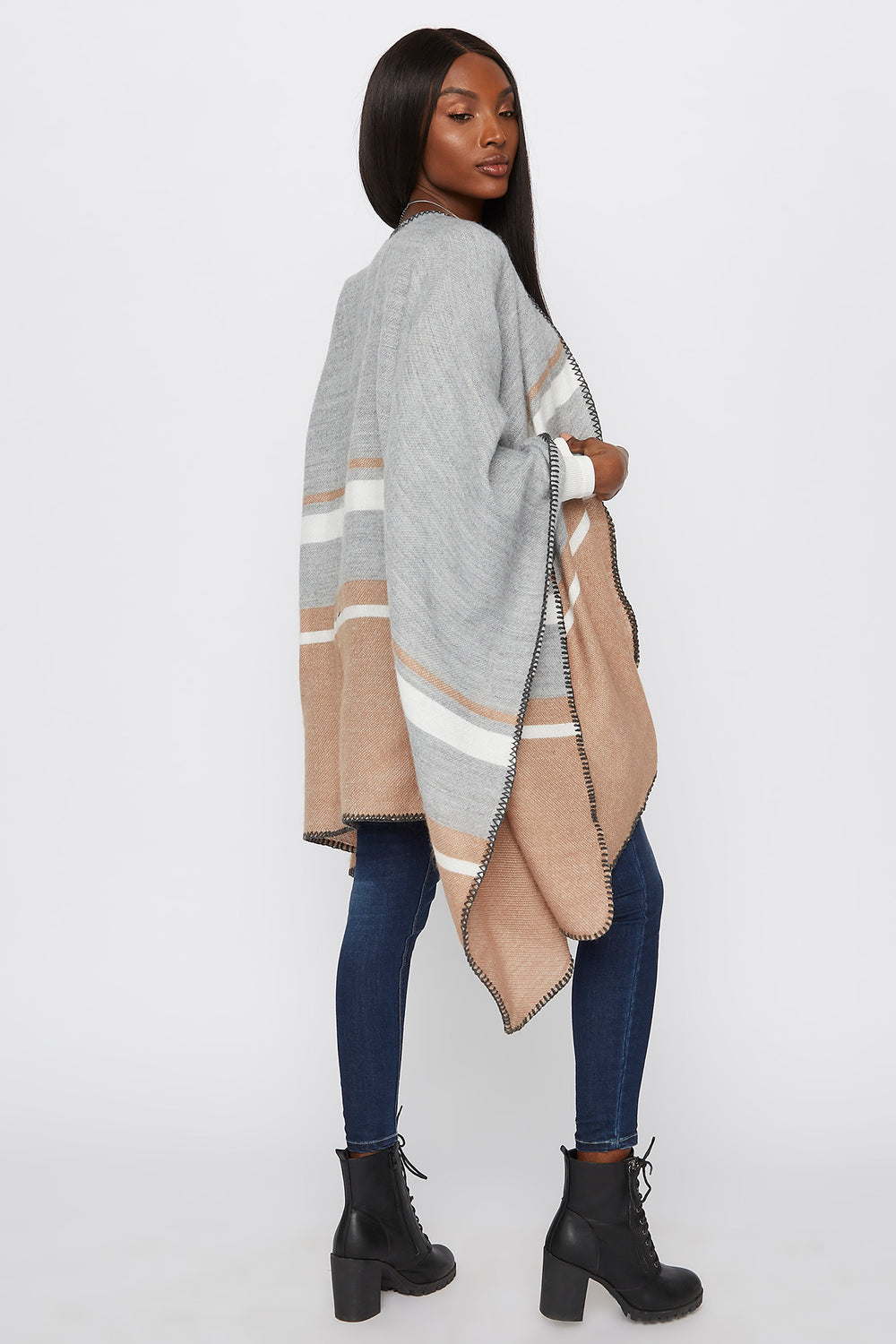Knit Striped Cape Taupe