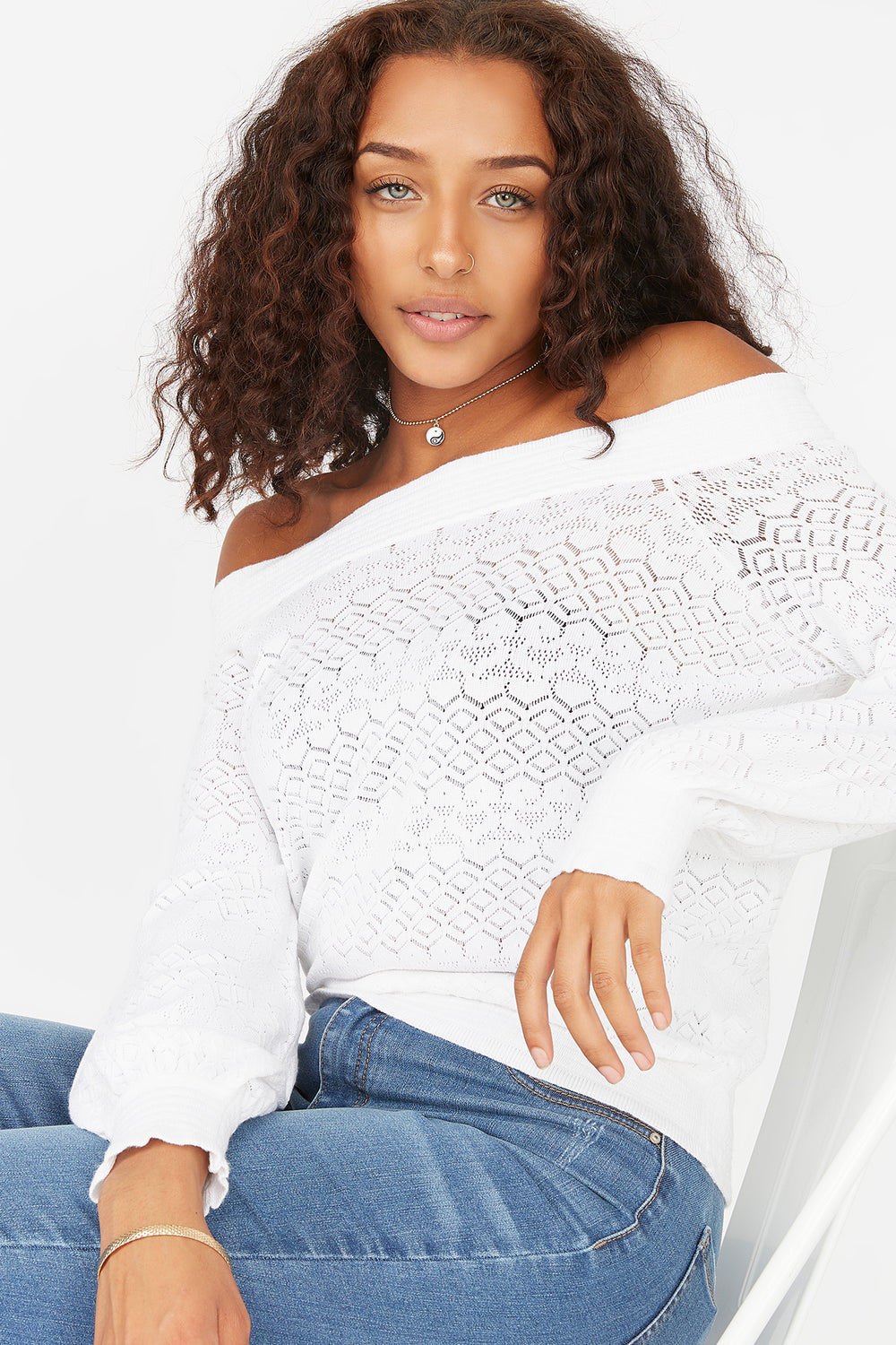 Off The Shoulder Eyelet Sweater White