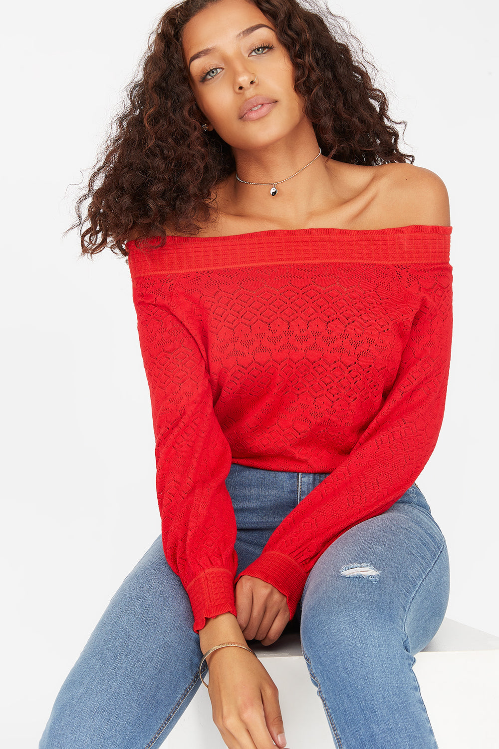 Off The Shoulder Eyelet Sweater Red
