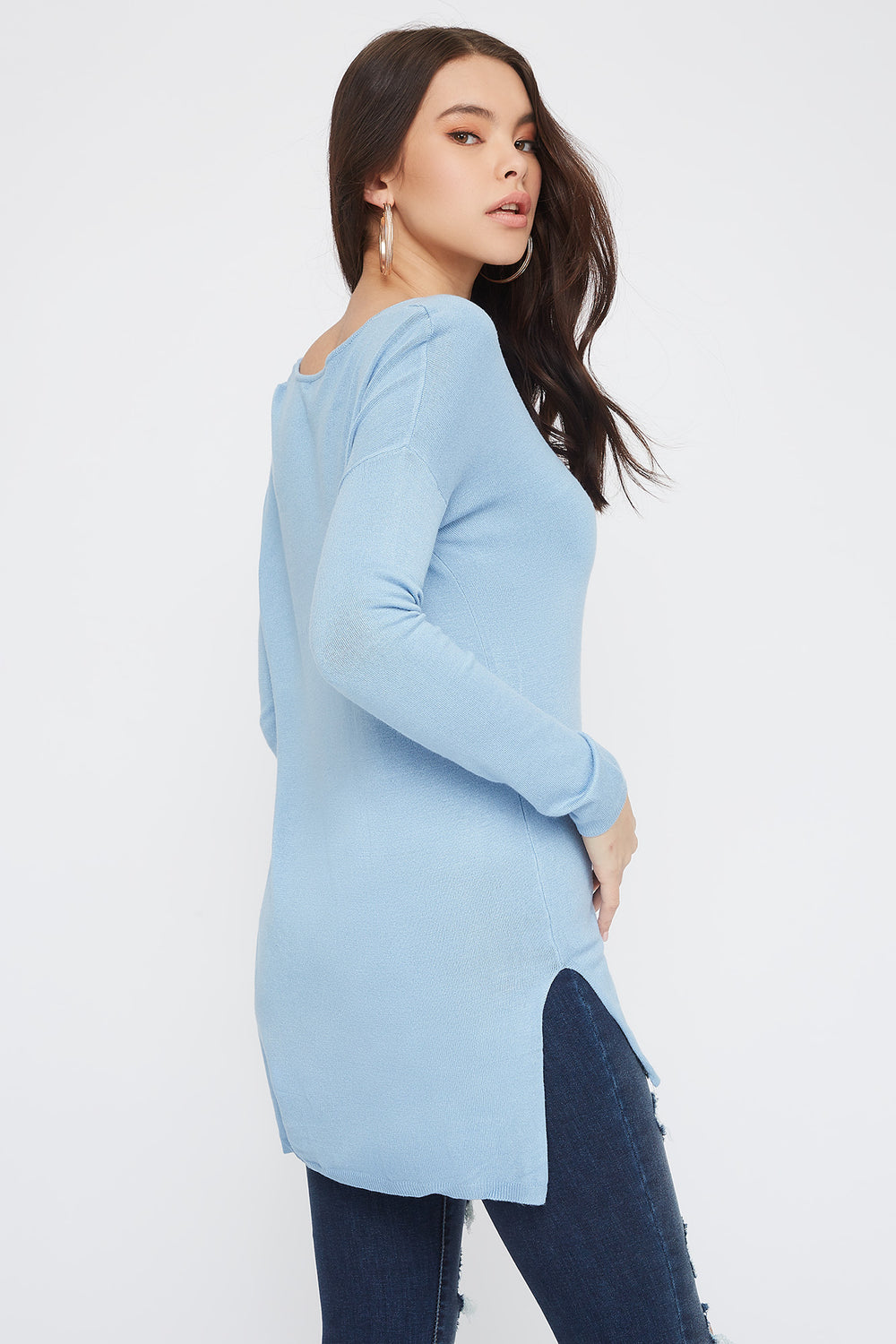 Knit V-Neck High-Low Long Sleeve Blue