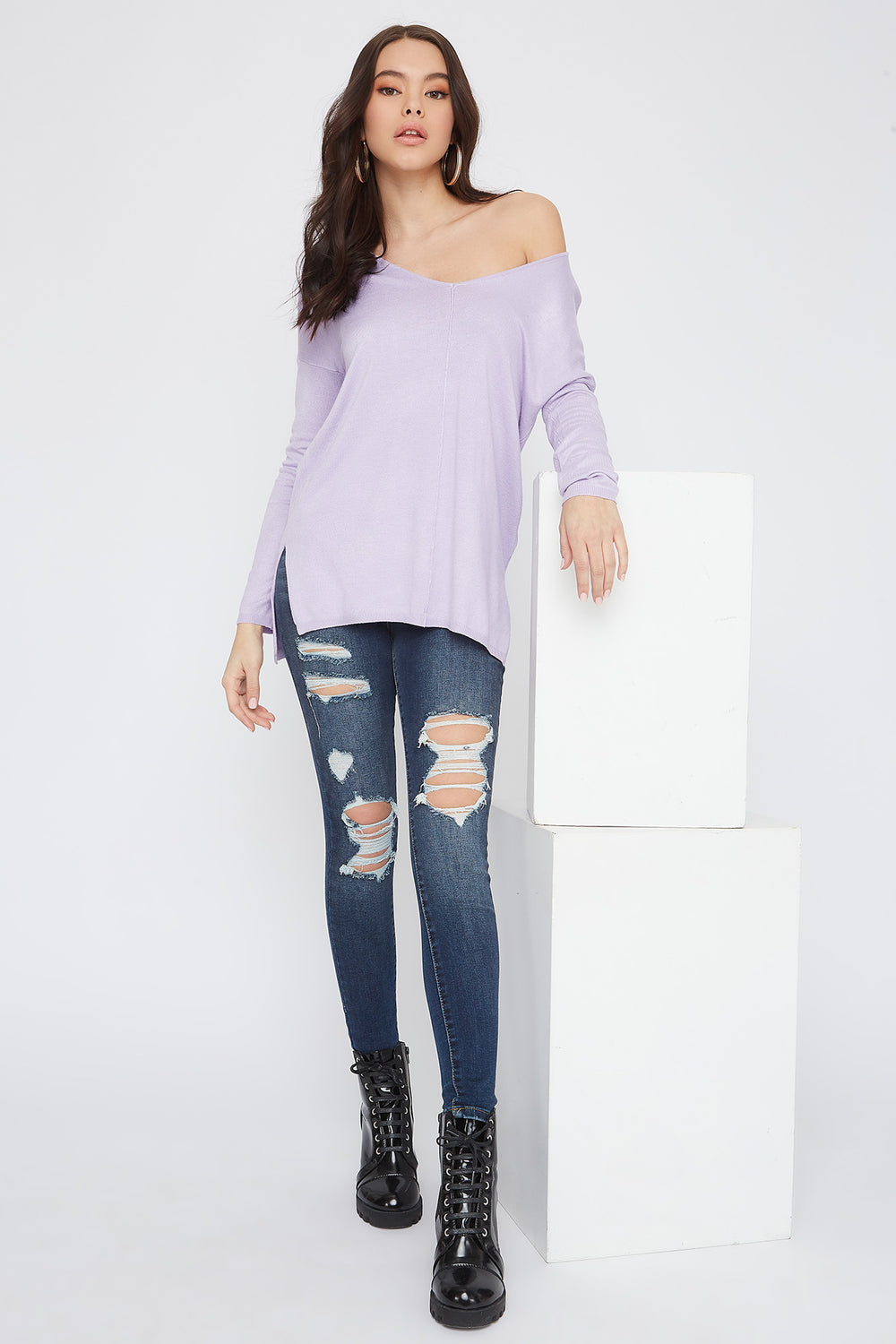 Knit V-Neck High-Low Long Sleeve Lilac