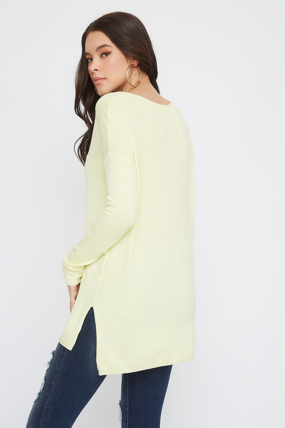 Knit V-Neck High-Low Long Sleeve Yellow