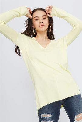 Knit V-Neck High-Low Long Sleeve
