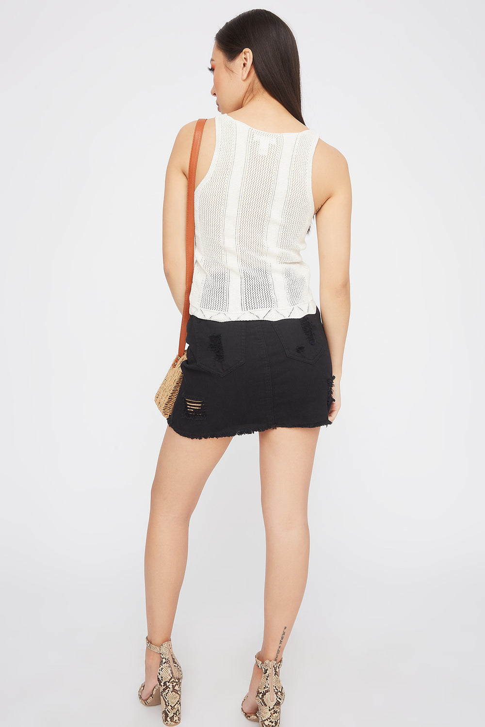 Knit V-Neck Tank White
