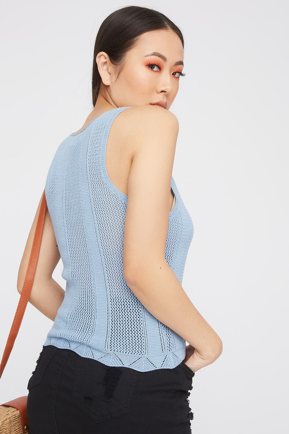 Knit V-Neck Tank Blue