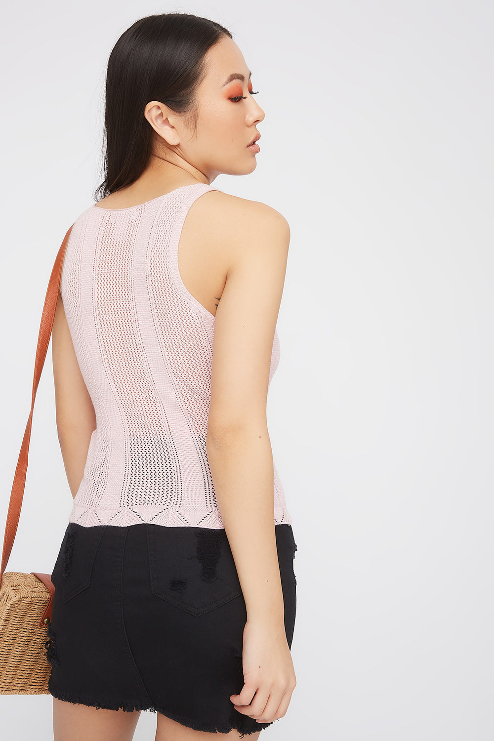 Knit V-Neck Tank Rose