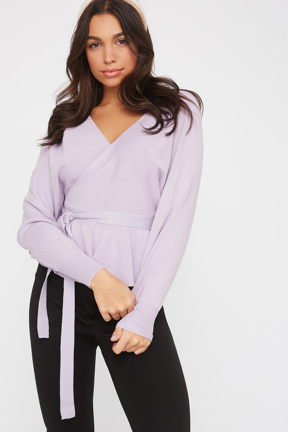 Knit V-Neck Self Belted Peplum Sweater Lilac