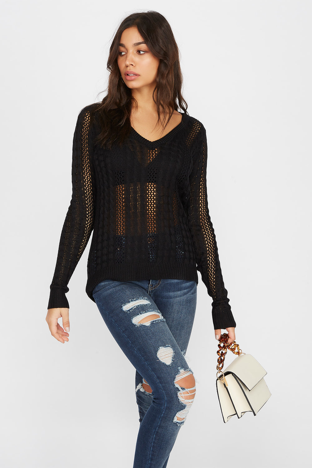 V-Neck Cable Knit Sweater Black