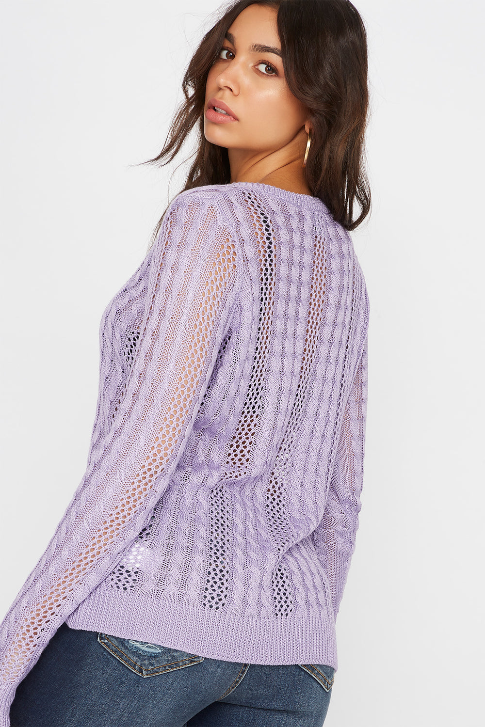 V-Neck Cable Knit Sweater Lilac