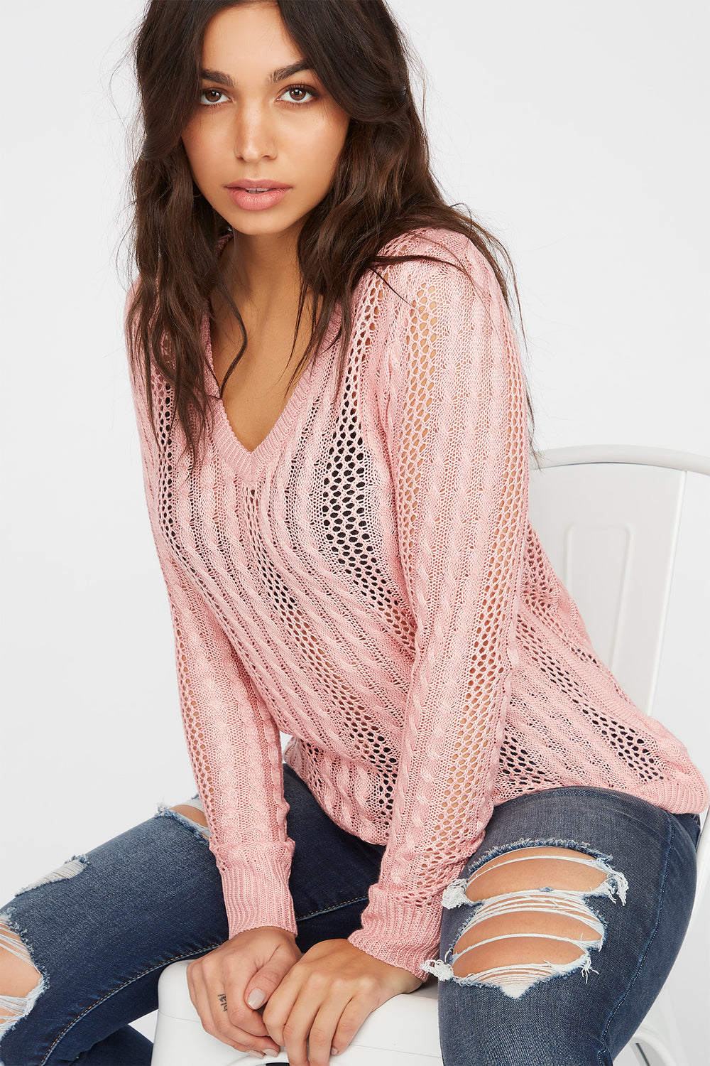 V-Neck Cable Knit Sweater Pink
