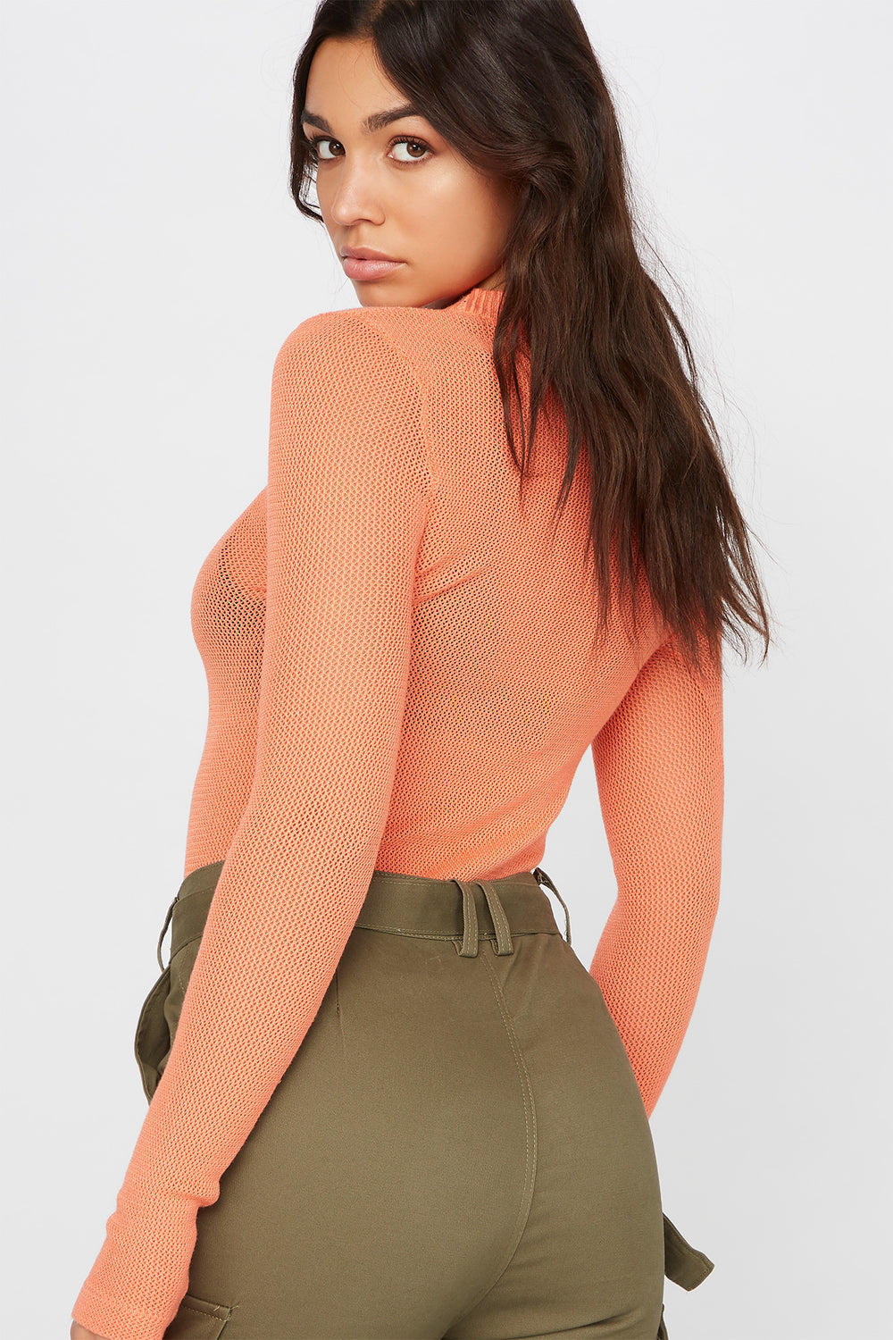 Knit Crew Neck Long Sleeve Sweater Coral
