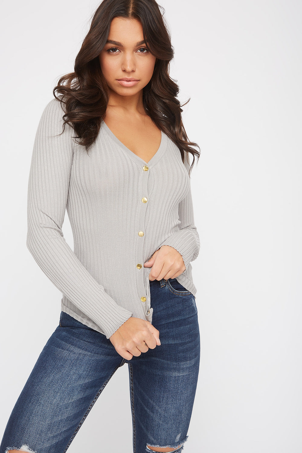 Ribbed Button-Up Cardigan Heather Grey