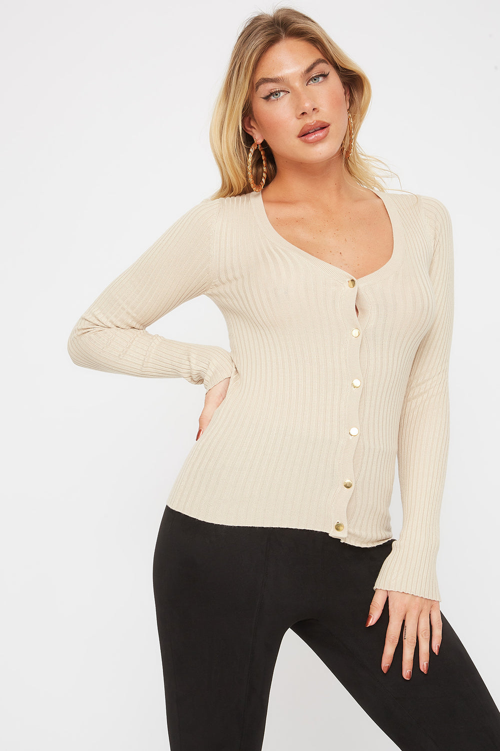 Ribbed Button-Up Cardigan Oatmeal