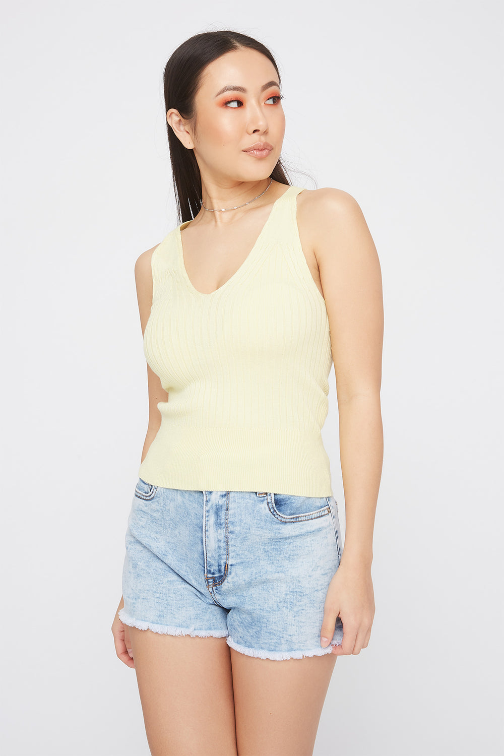 Ribbed Cable Knit V-Neck Tank Yellow