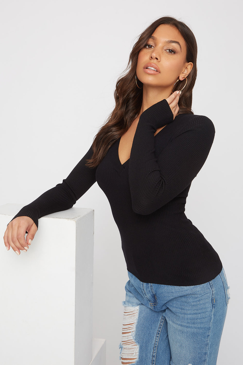 Ribbed V-Neck Long Sleeve Black