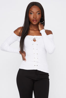 Ribbed Off The Shoulder Lace-Up Top